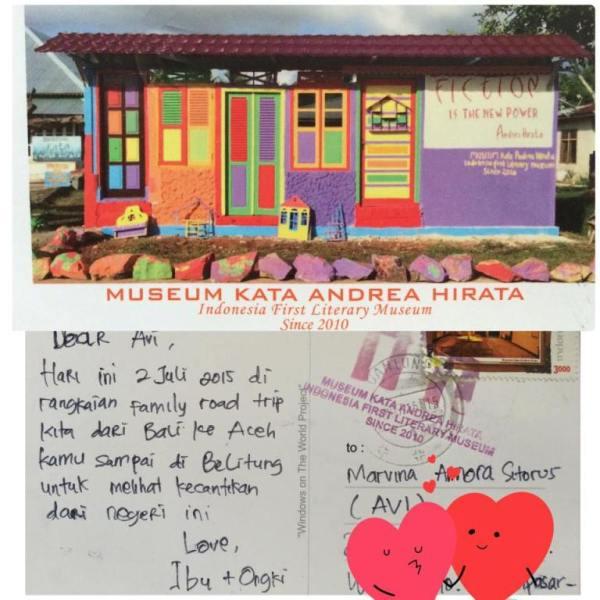 Kartu Pos dari Musium kata Andrea Hirata, Belitung.
